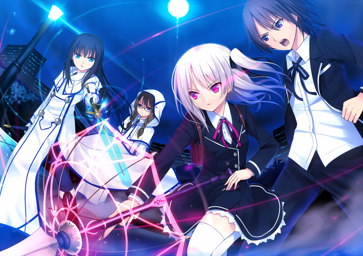 annihilate_luxifer blue_eyes group koi male night purple_eyes ribbons thighhighs twintails weapon white_hair