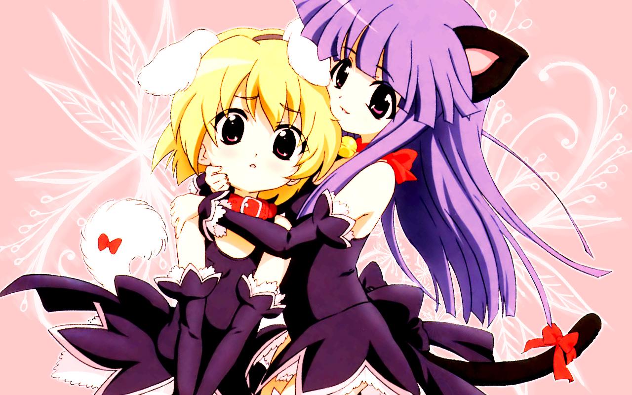 animal_ears bell blonde_hair bow catgirl collar furude_rika higurashi_no_naku_koro_ni houjou_satoko long_hair pink pink_eyes purple_hair red_eyes short_hair tail