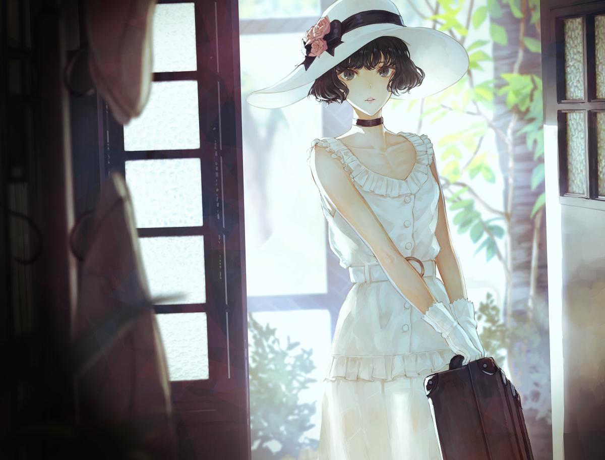 black_eyes black_hair choker dress flowers gloves hat original rose short_hair yasukura_(shibu11)