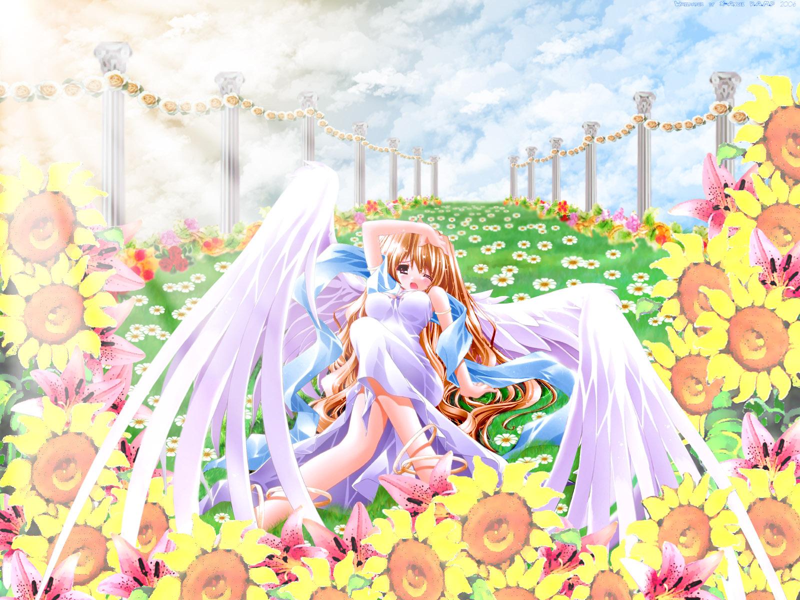 brown_hair clouds dress flowers grass long_hair tagme wings wink