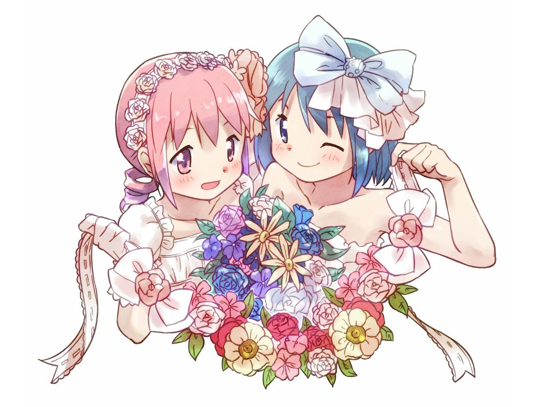 2girls blue_eyes blue_hair blush bow flowers gloves headband kaname_madoka kirikuchi_riku mahou_shoujo_madoka_magica miki_sayaka pink_eyes pink_hair ribbons short_hair wedding_attire
