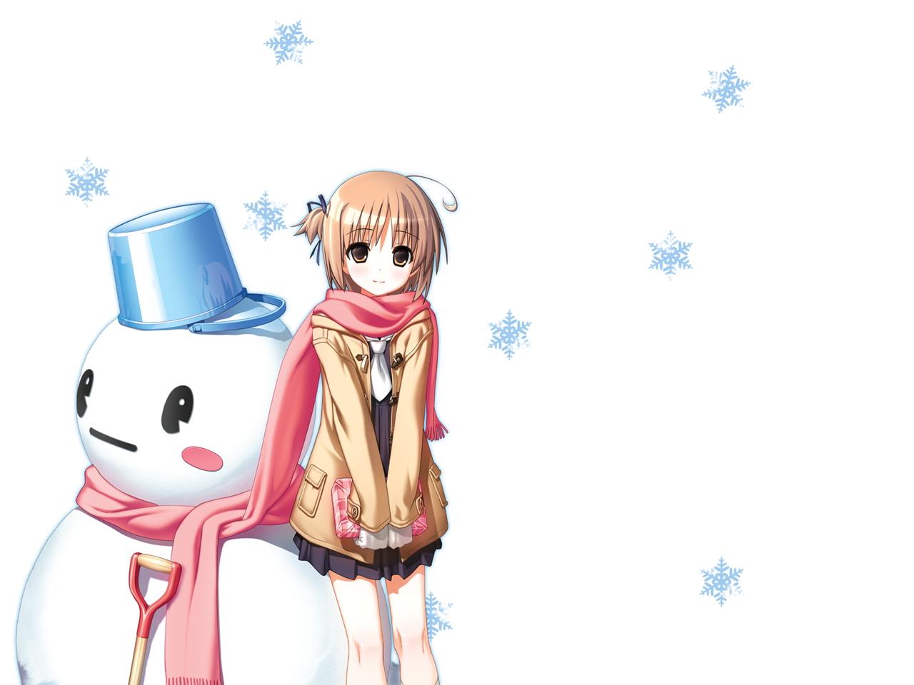 brown_eyes brown_hair nekomiya_nono scarf short_hair snow snowman white yotsunoha