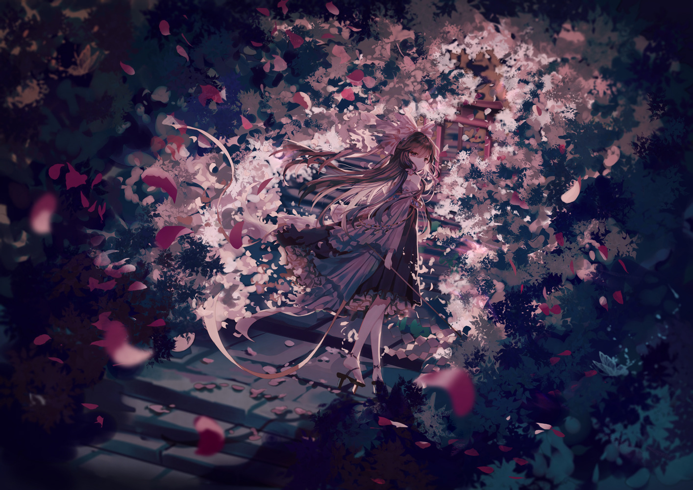 brown_hair hakurei_reimu japanese_clothes long_hair miko petals polychromatic stairs torii touhou yasato