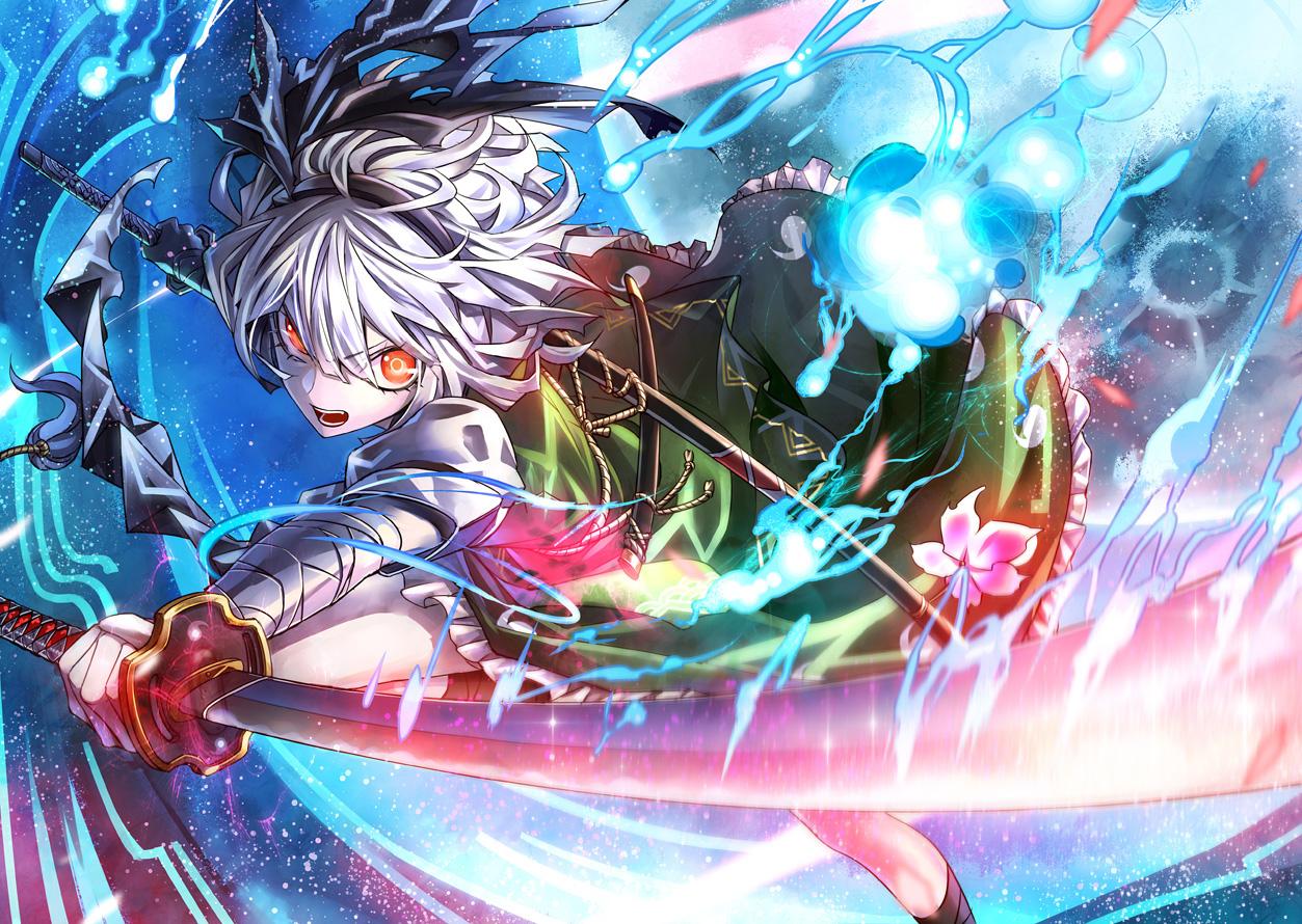 bandage dress headband katana konpaku_youmu kozou_(soumuden) myon orange_eyes sword touhou weapon white_hair
