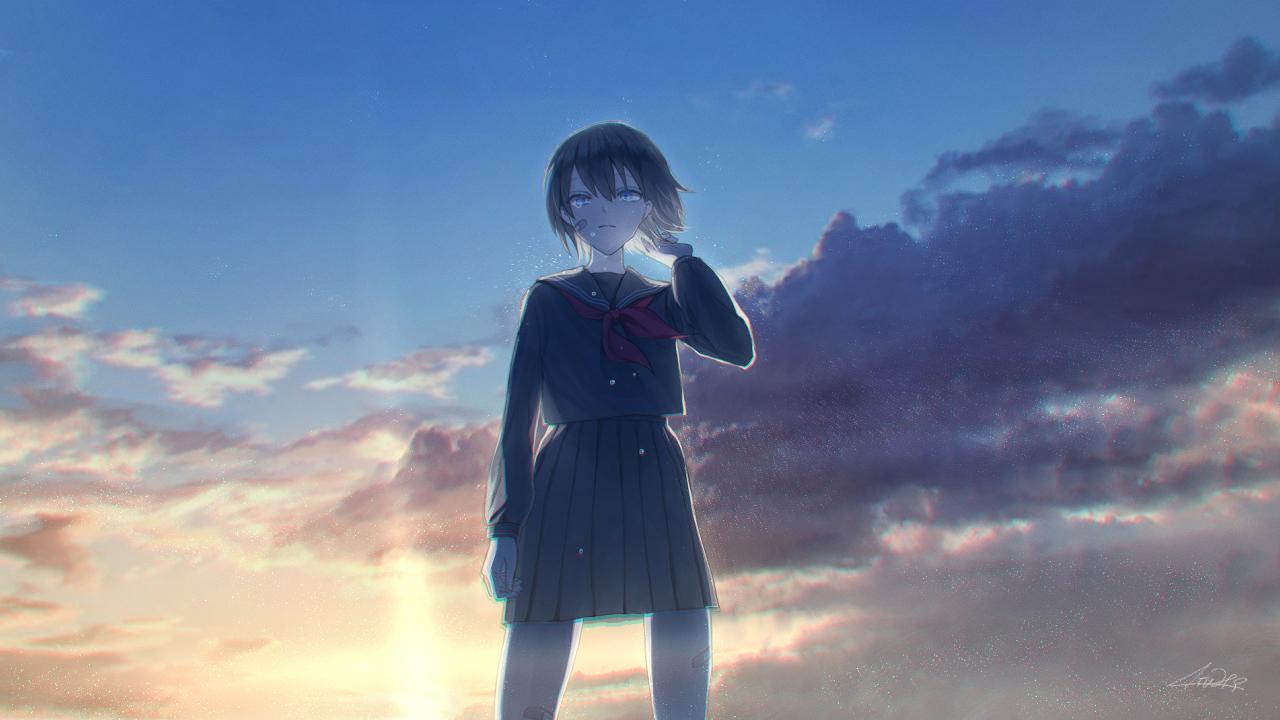 aqua_eyes atuhi bandaid black_hair clouds crying original school_uniform short_hair signed skirt sky sunset