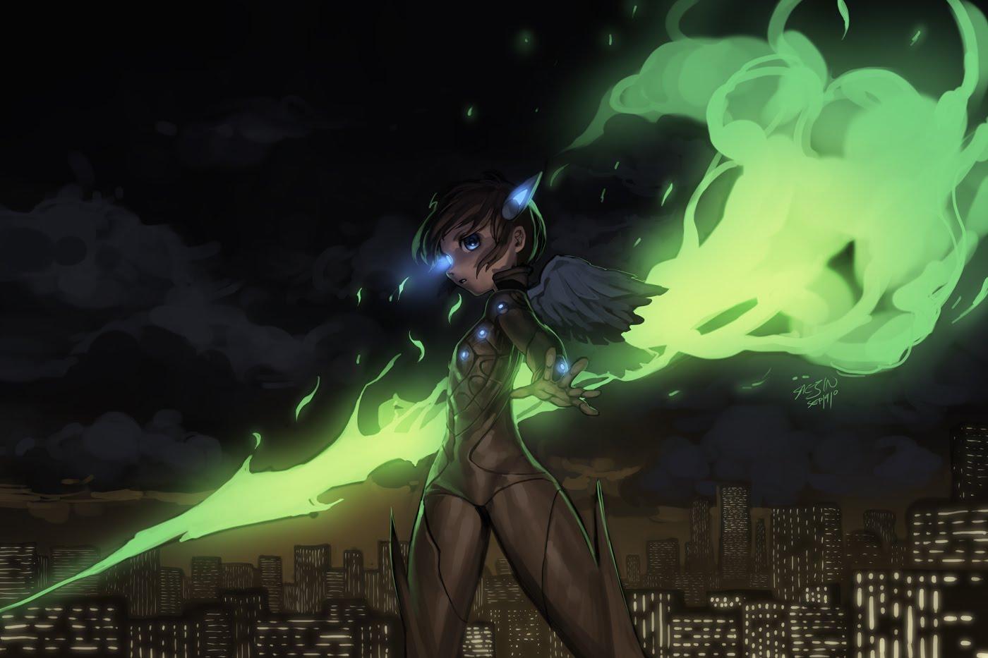 blue_eyes bodysuit brown_hair city fire night original saejin_oh short_hair skintight wings