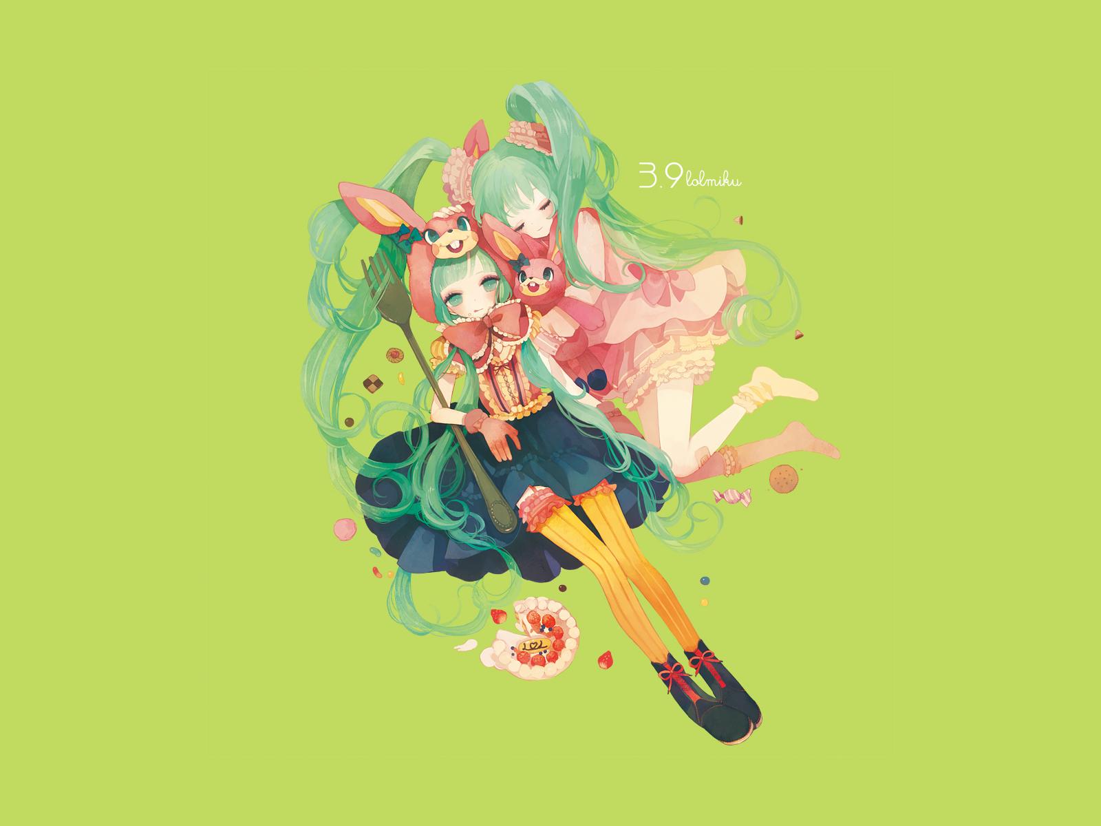 aqua_eyes aqua_hair dress food green hatsune_miku long_hair lots_of_laugh_(vocaloid) socks stockings twintails vocaloid