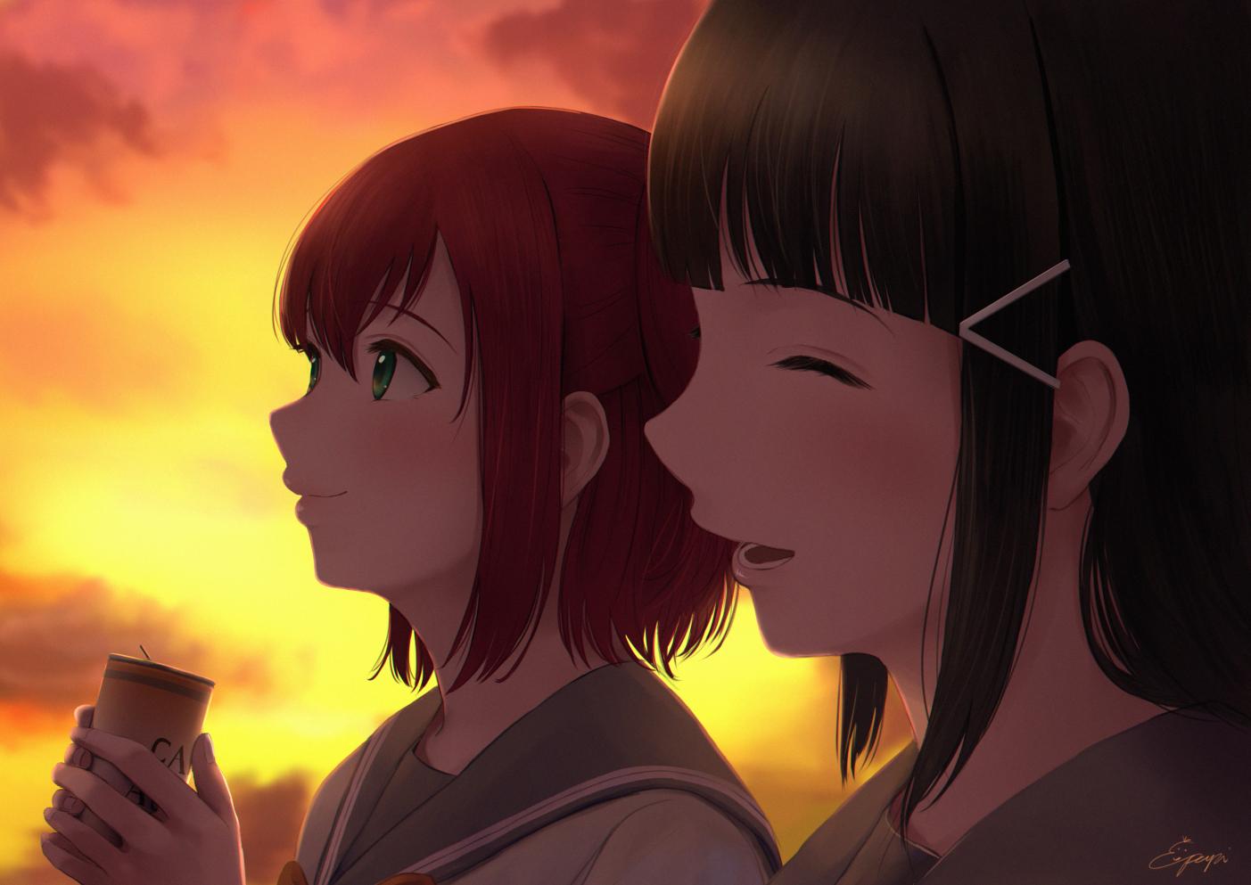 2girls black_hair close drink green_eyes kurosawa_dia kurosawa_ruby long_hair love_live!_school_idol_project love_live!_sunshine!! papi_(papiron100) red_hair short_hair signed sunset