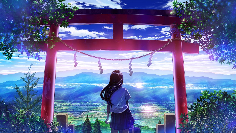 black_hair bokuden clouds grass landscape long_hair original phone rope scenic school_uniform skirt sky summer torii tree