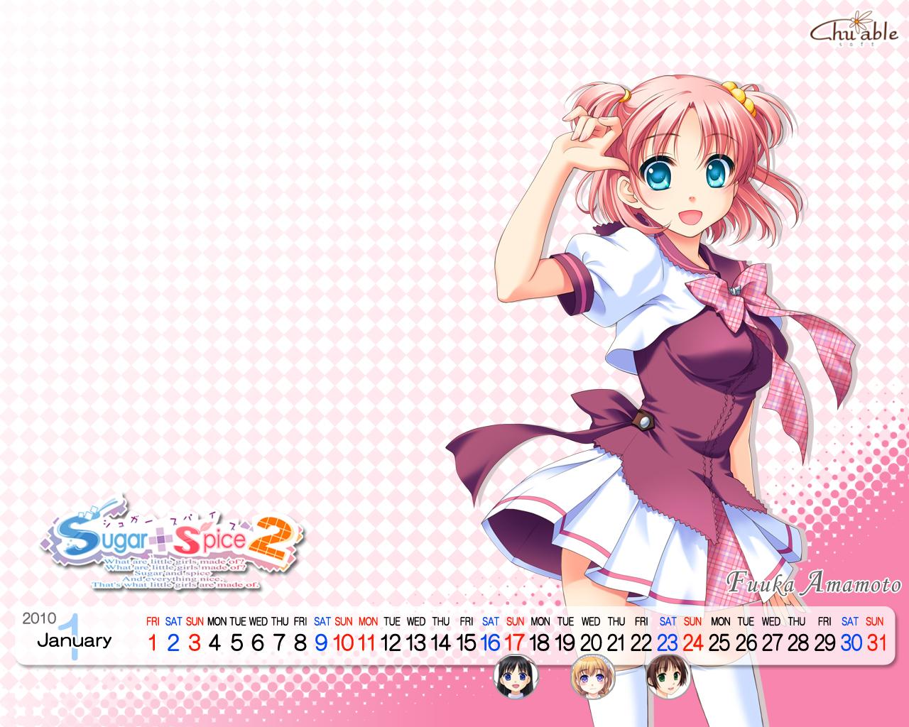 amamoto_fuuka ginta pink_hair school_uniform skirt sugar+spice_2 twintails