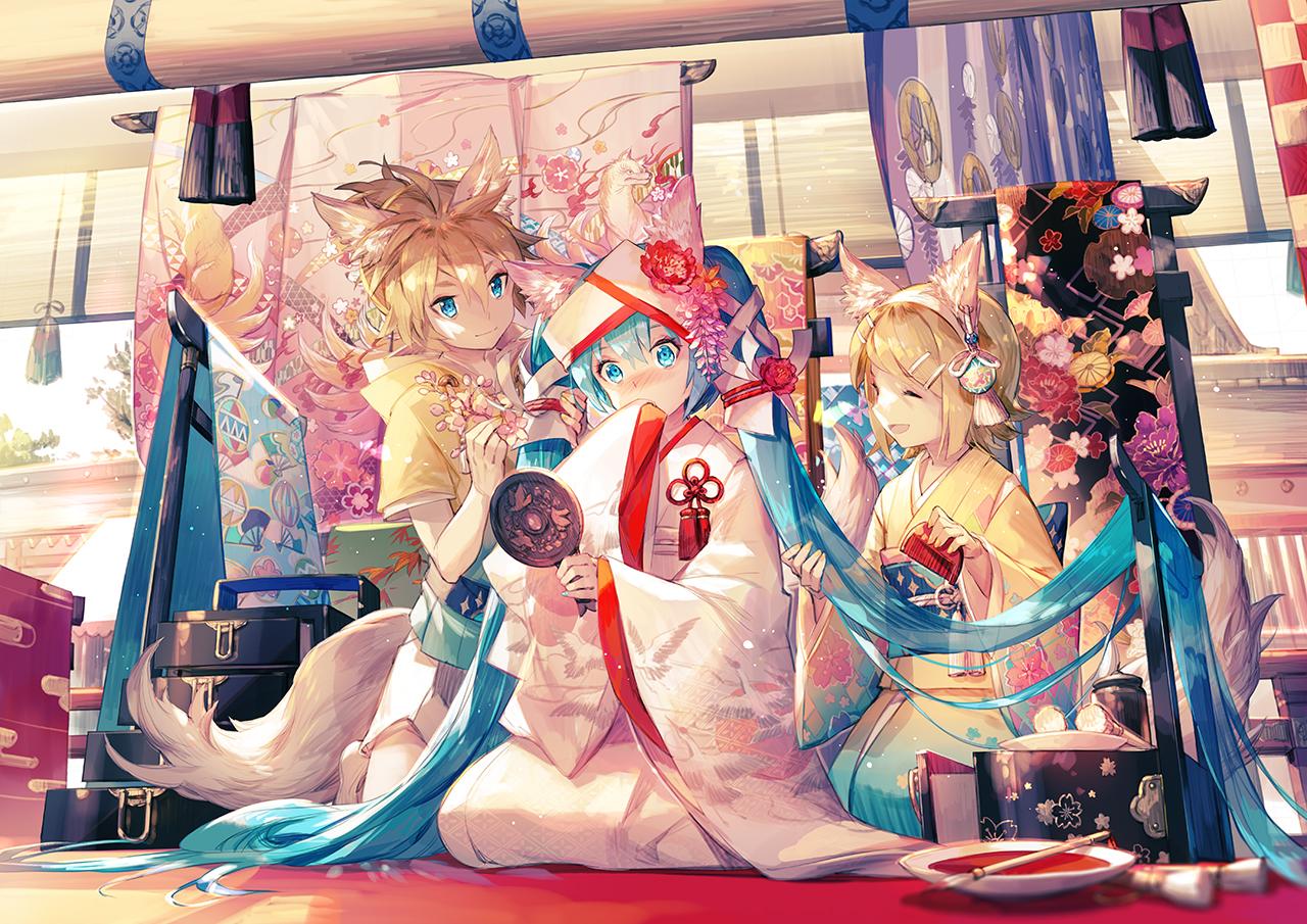 animal_ears aqua_eyes aqua_hair blonde_hair blush foxgirl hatsune_miku headdress hoodie japanese_clothes kagamine_len kagamine_rin kimono long_hair male mirror scorpion5050 short_hair tail twintails vocaloid wedding_attire