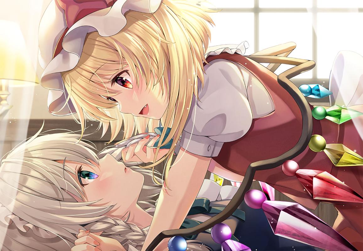 2girls flandre_scarlet izayoi_sakuya maid shoujo_ai touhou vampire yuuka_nonoko