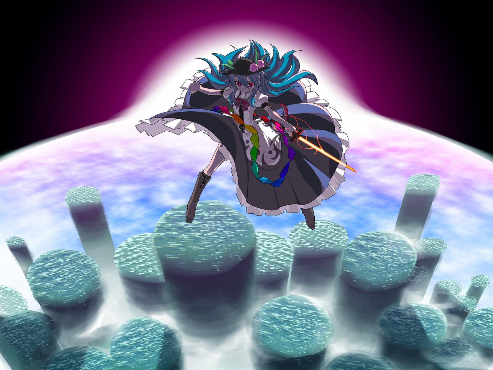 blue_hair boots dress hat hinanawi_tenshi long_hair red_eyes sky sword touhou weapon