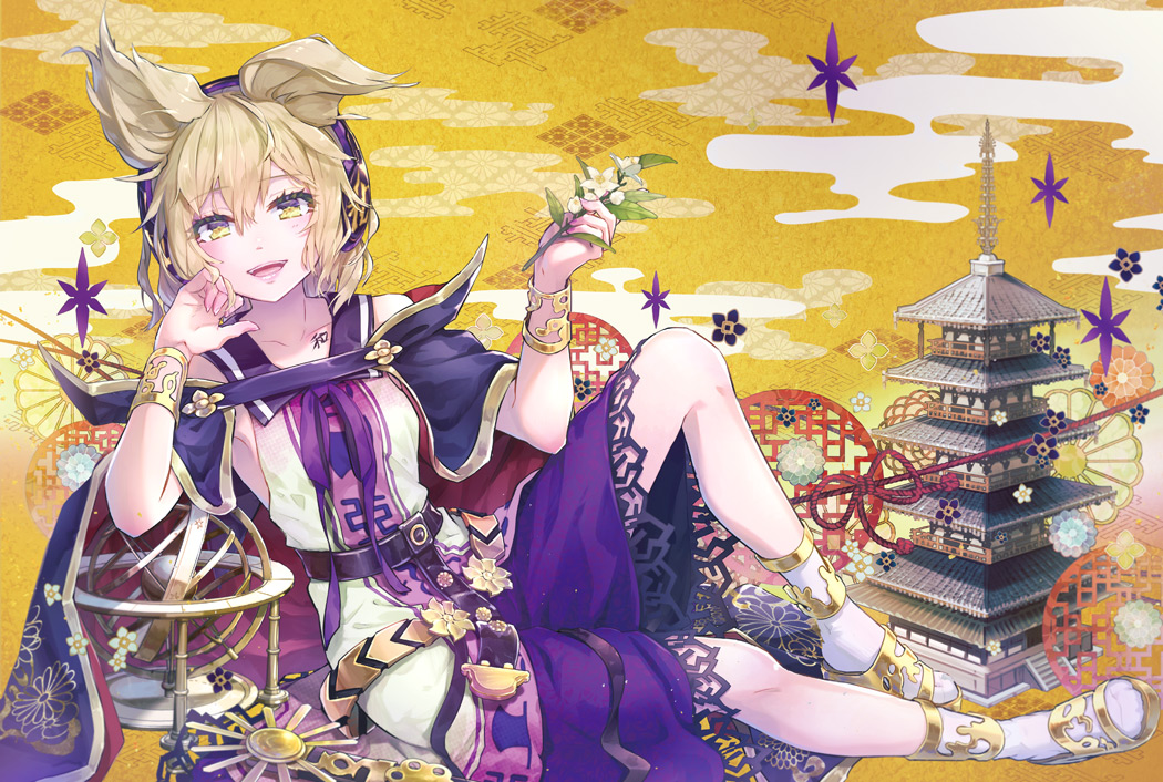 blonde_hair building cape jpeg_artifacts short_shorts syuri22 touhou toyosatomimi_no_miko wristwear yellow_eyes