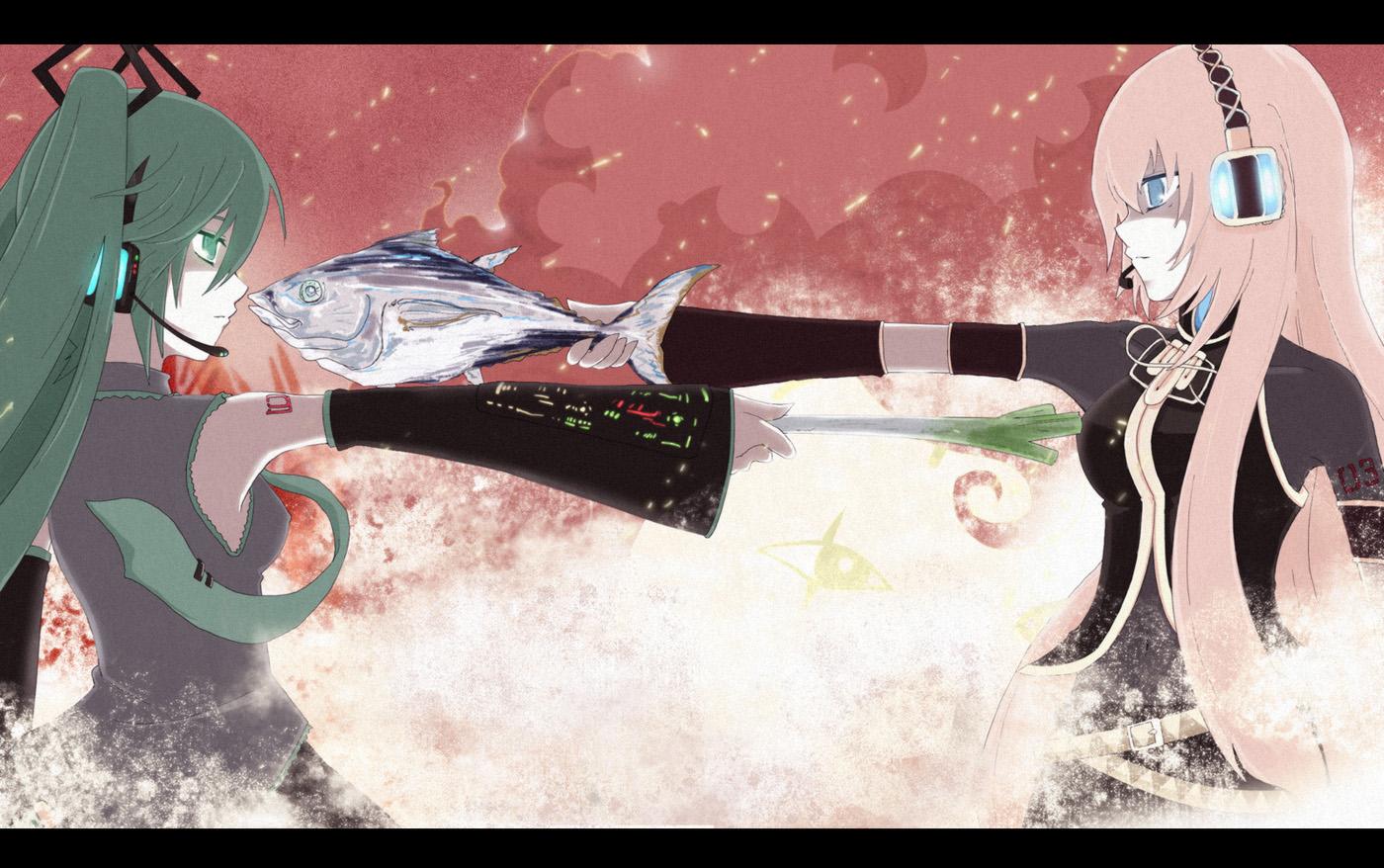 blue_eyes green_eyes green_hair hatsune_miku headphones long_hair megurine_luka pink_hair tie twintails vocaloid