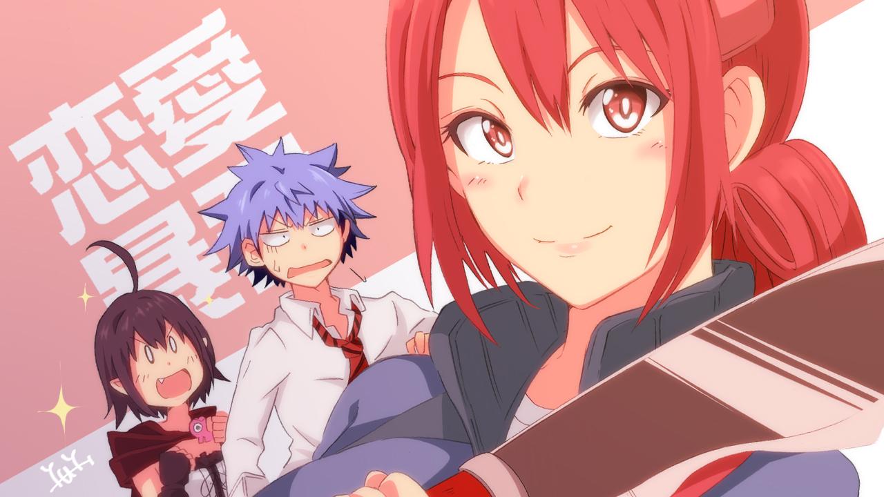 aino_seiji black_hair blue_hair bravehope37 cape fang gloves guri hiyama_akane_(renai_boukun) male red_eyes red_hair renai_boukun short_hair tie weapon