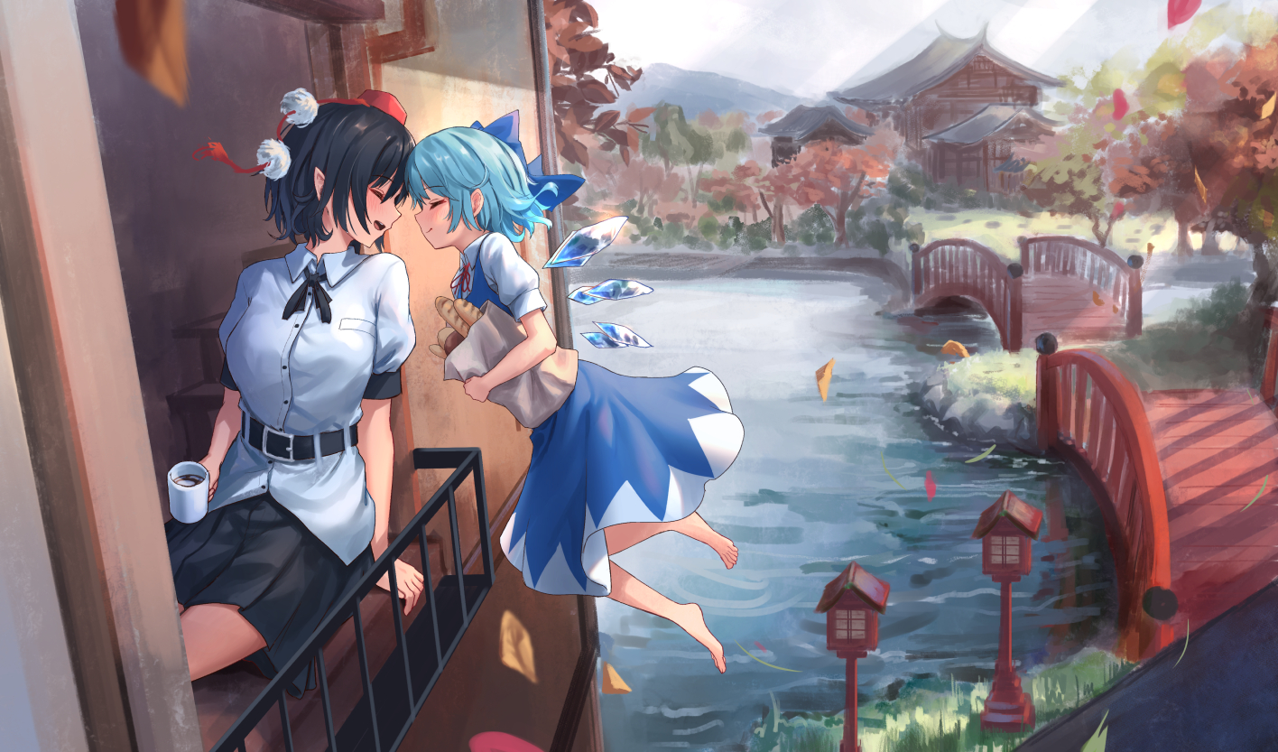 2girls aqua_hair autumn barefoot black_hair blush building cirno drink fairy food grass hat leaves pointed_ears roke_(taikodon) shameimaru_aya short_hair shoujo_ai skirt touhou water wings