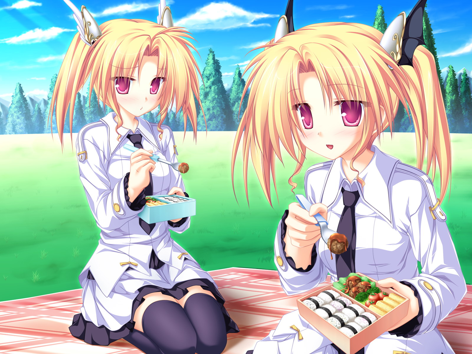 blonde_hair food game_cg grass magus_tale nina_geminis rena_geminis school_uniform sky tenmaso thighhighs tree twins twintails whirlpool