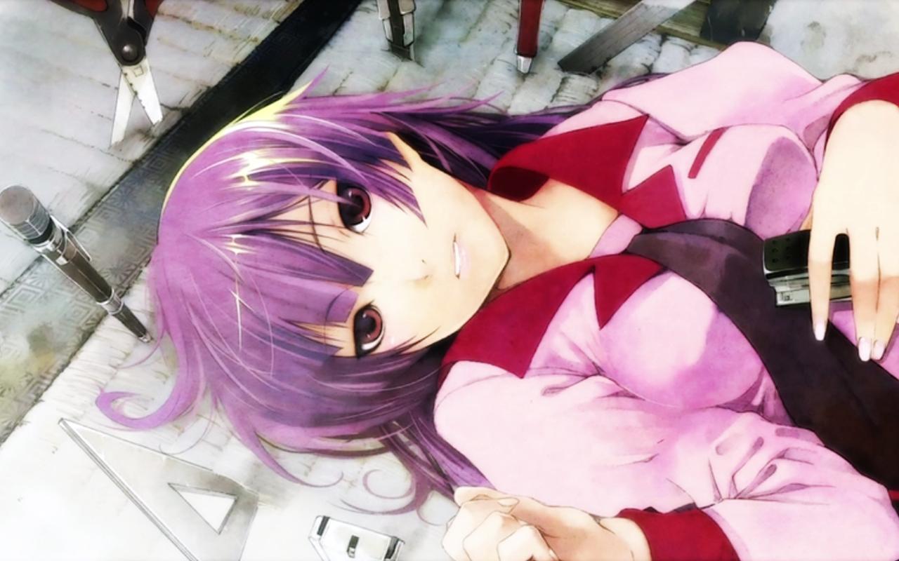 bakemonogatari breasts long_hair monogatari_(series) purple_hair red_eyes school_uniform senjougahara_hitagi tagme_(artist) tie