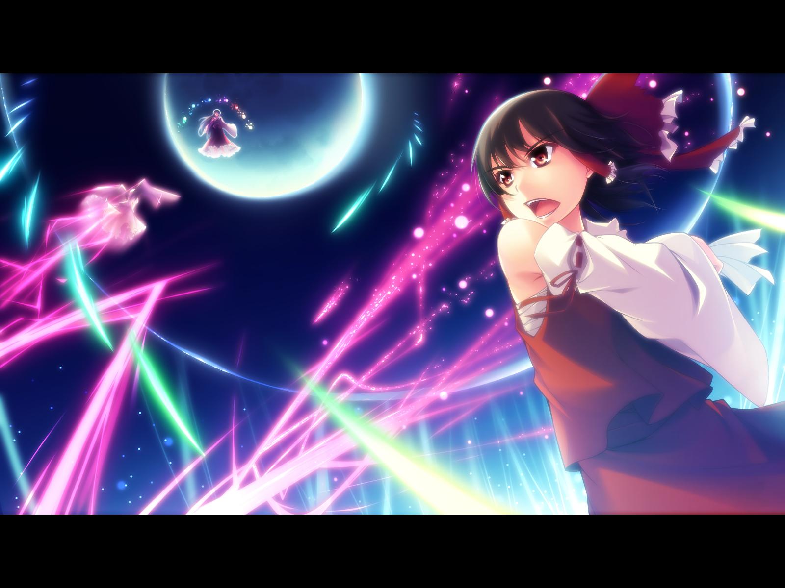 black_hair bow hakurei_reimu houraisan_kaguya japanese_clothes kazakura miko moon red_eyes remilia_scarlet touhou vampire