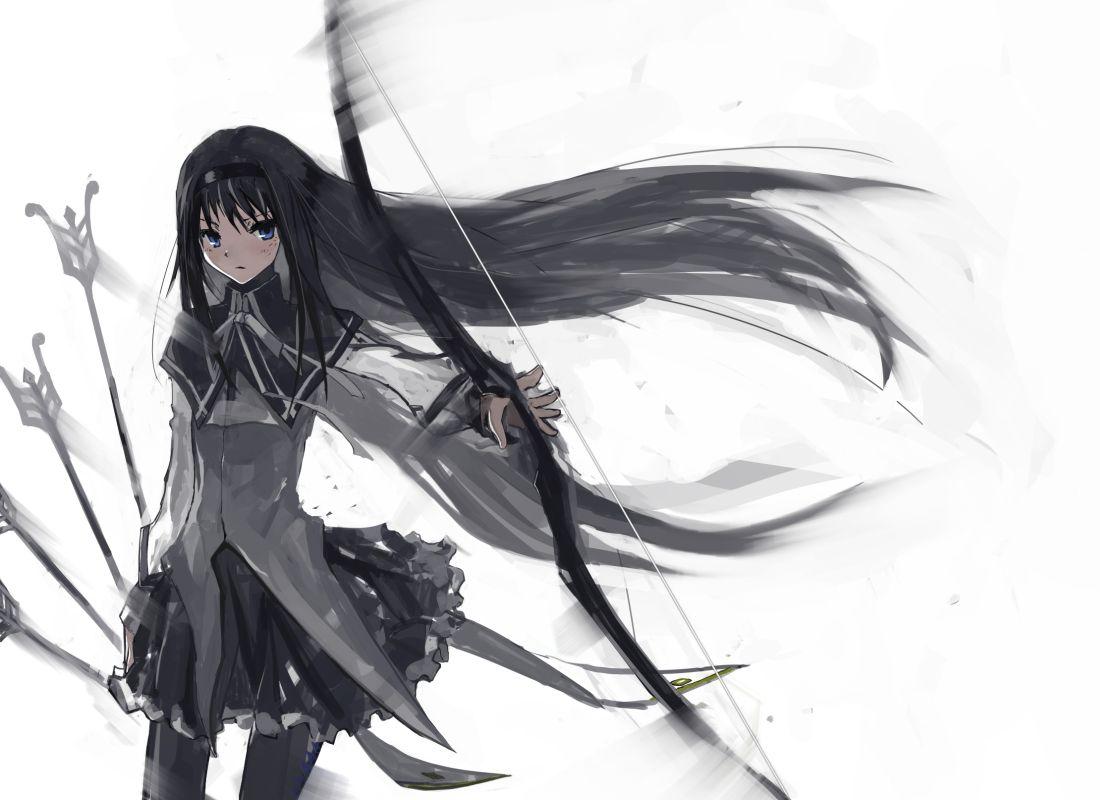 akemi_homura black_hair blue_eyes bow bow_(weapon) gond headband jpeg_artifacts long_hair mahou_shoujo_madoka_magica pantyhose school_uniform weapon white