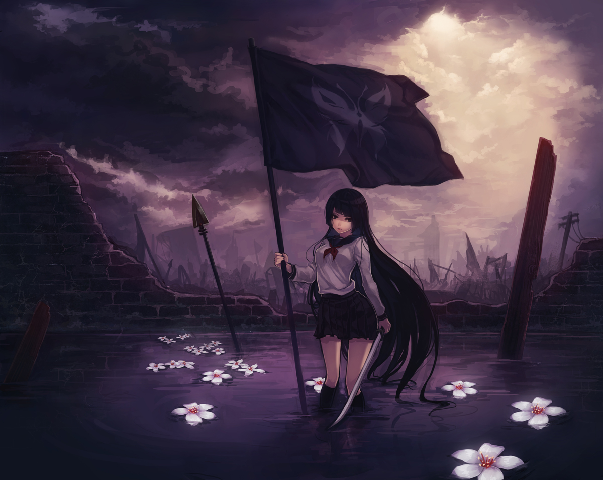 black_hair blue_eyes butterfly clouds flowers katana long_hair original seifuku skirt sword water weapon