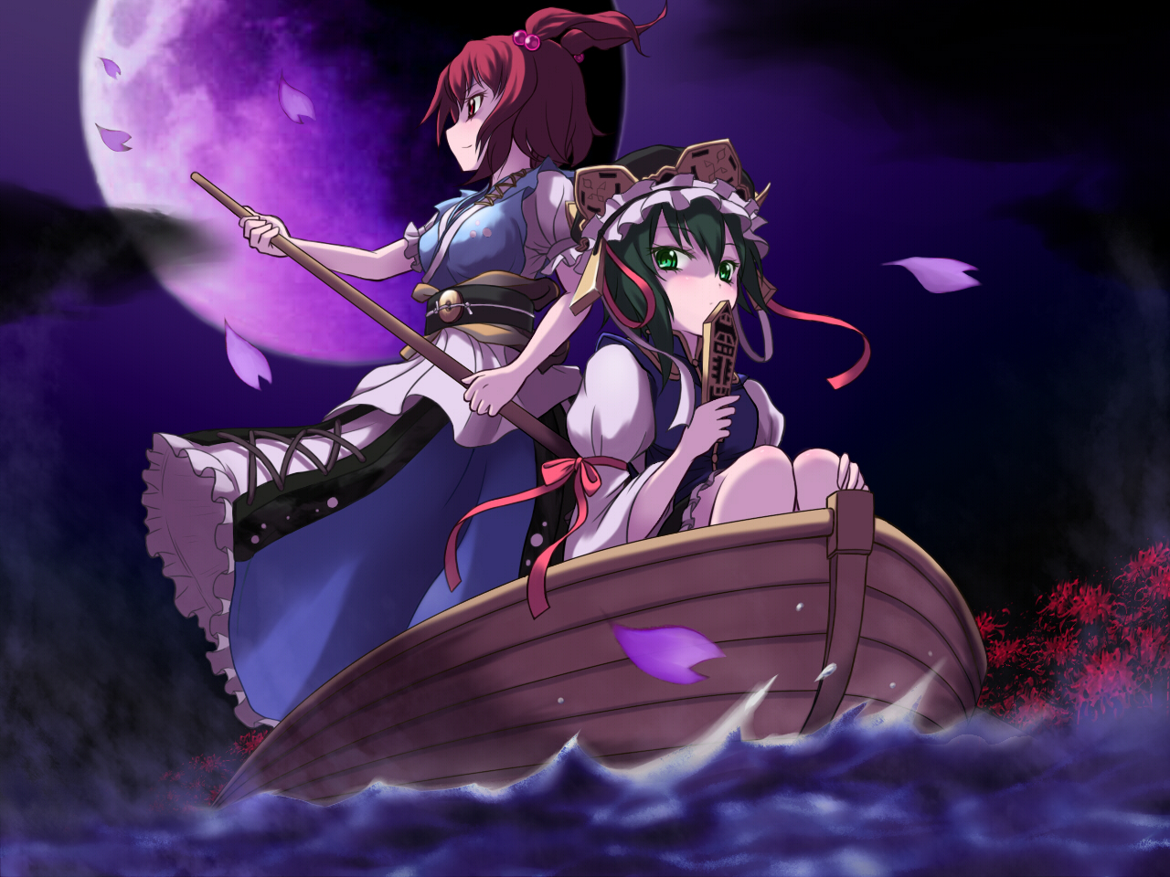 2girls boat flowers green_eyes green_hair hat jungetsu_hoko moon night onozuka_komachi red_eyes red_hair shikieiki_yamaxanadu short_hair touhou