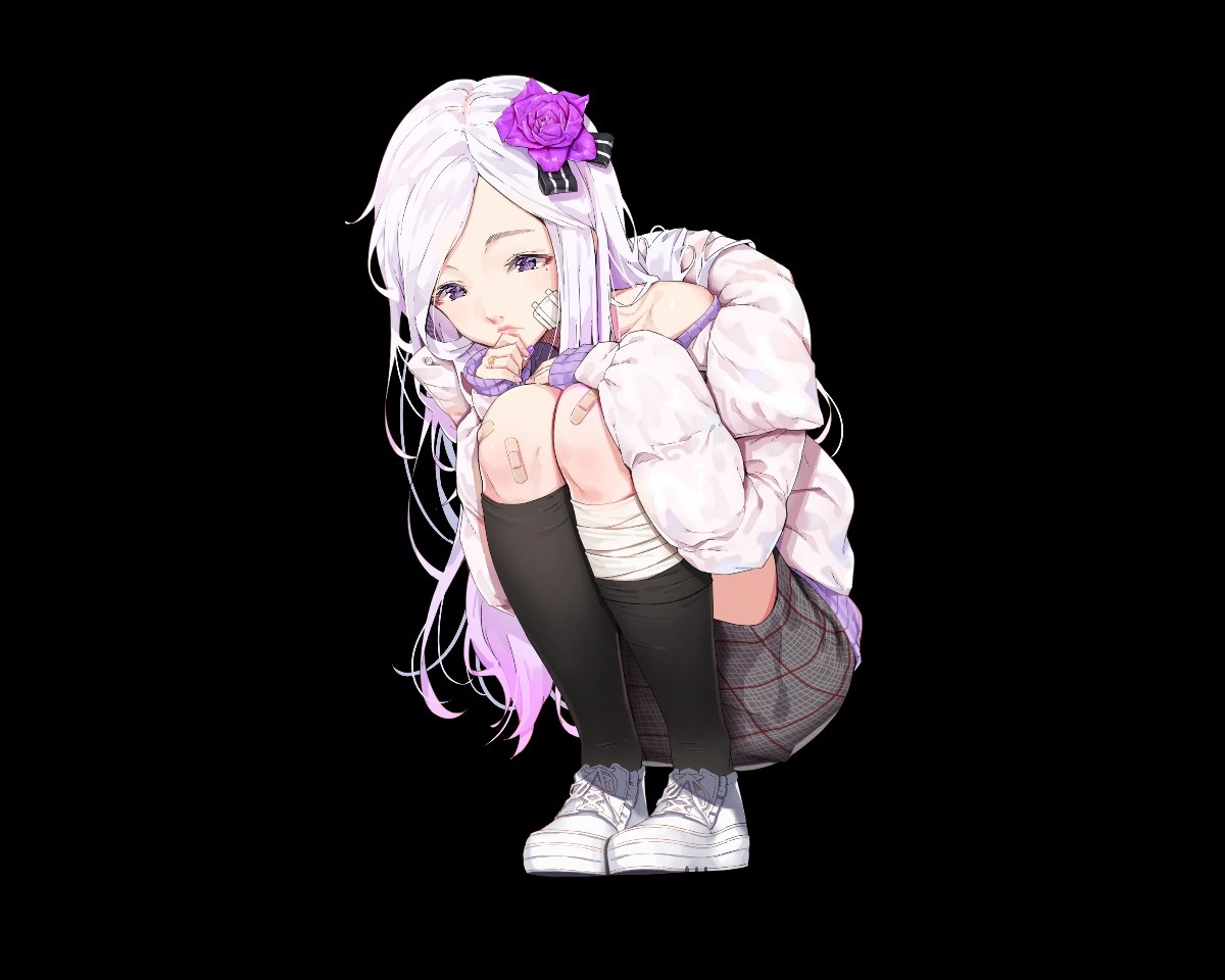 agnamore aliasing bandage bandaid black kneehighs long_hair original purple_eyes skirt white_hair