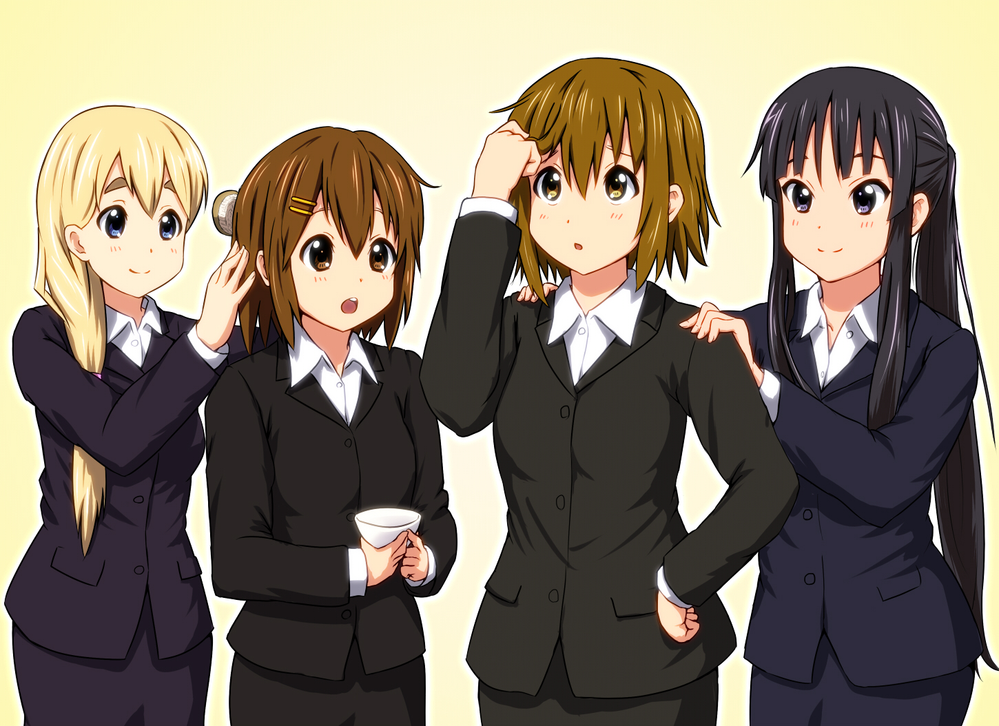 akiyama_mio black_hair blonde_hair blue_eyes brown_eyes brown_hair diesel-turbo drink hirasawa_yui k-on! kotobuki_tsumugi tainaka_ritsu