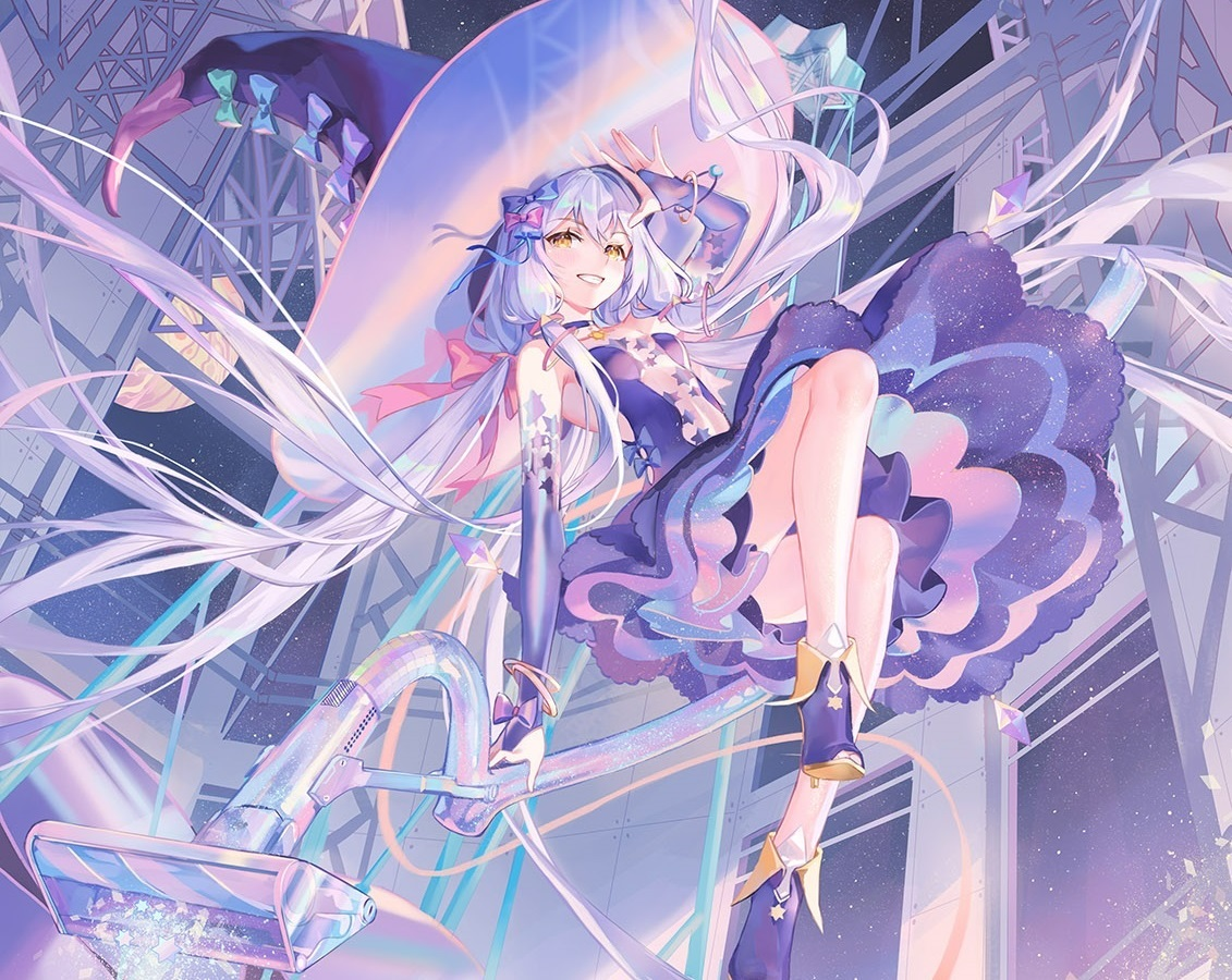 atdan blue_hair boots choker cropped dress elbow_gloves gloves hat long_hair planet stars twintails vocaloid witch witch_hat wristwear xingchen yellow_eyes
