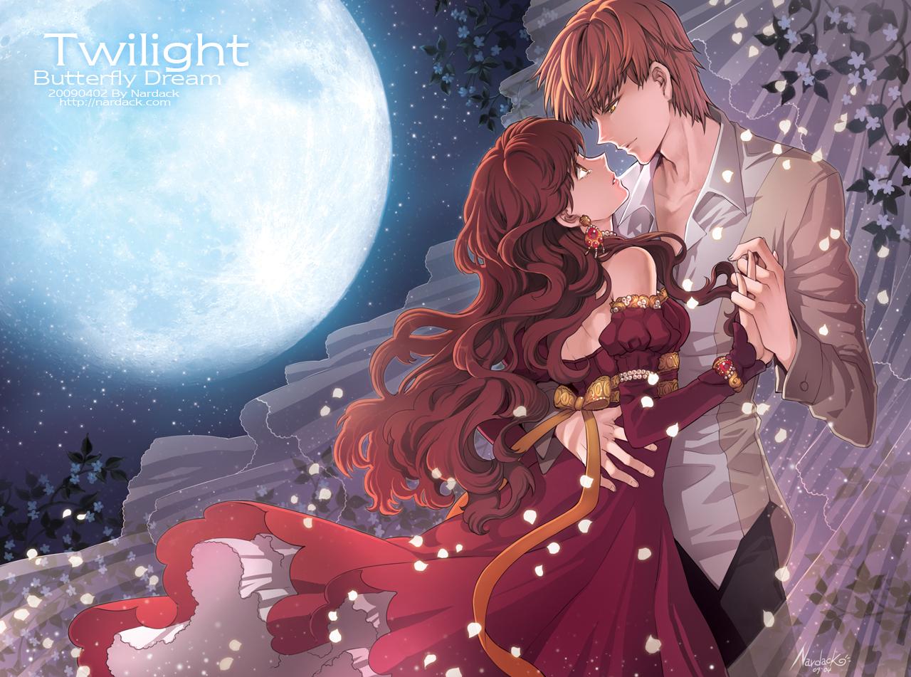 bella_swan brown_hair dress edward_cullen long_hair moon nardack signed tears twilight watermark