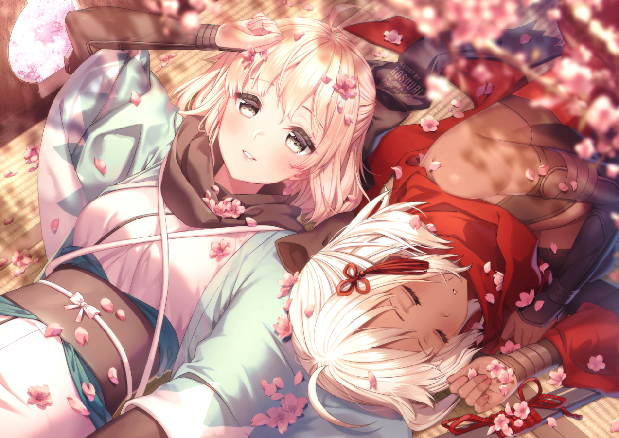 2girls cherry_blossoms dark_skin fate/grand_order fate_(series) flowers japanese_clothes okita_souji_alter okita_souji_(fate) petals rosuuri scarf short_hair sleeping watermark