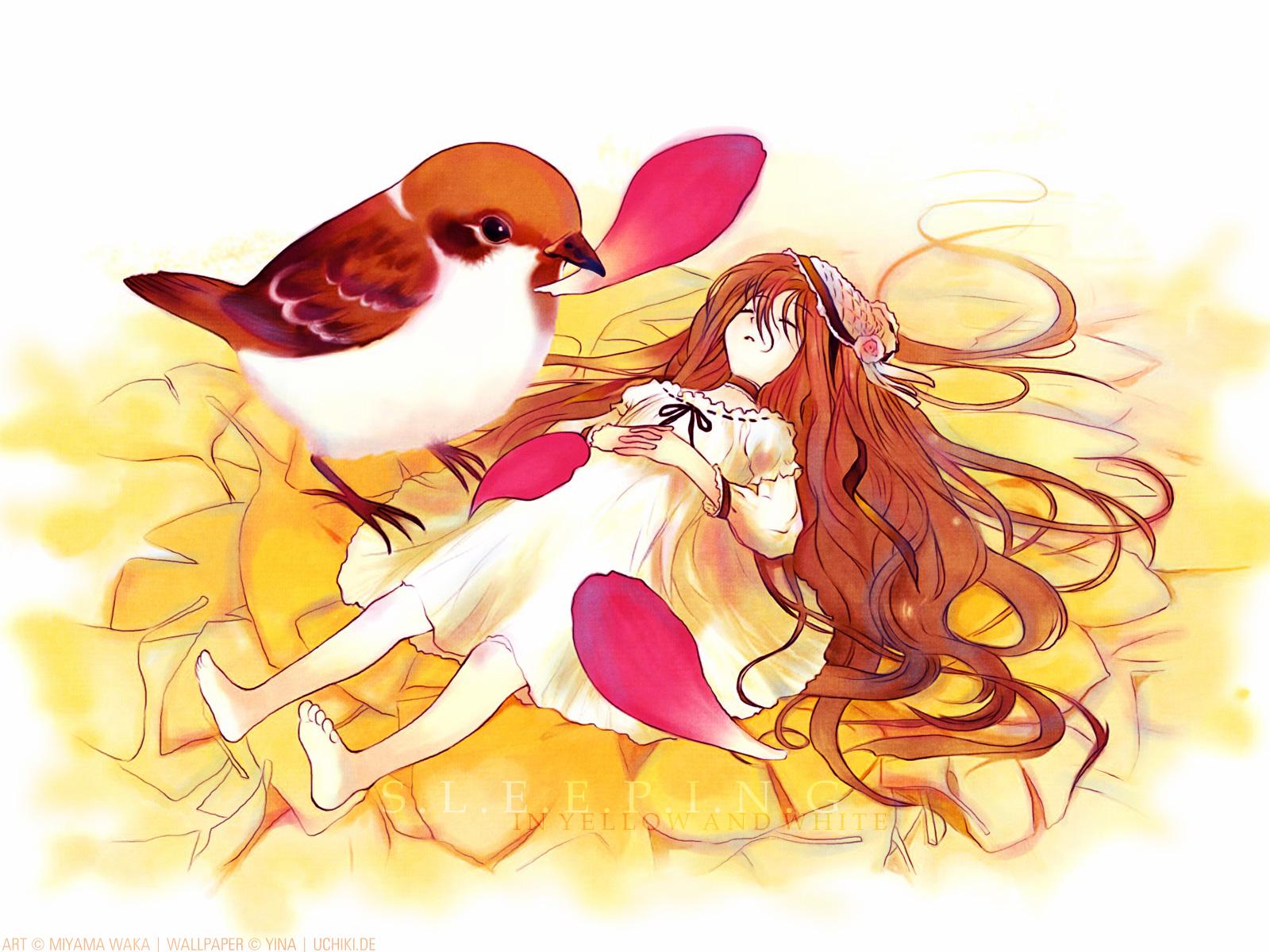 animal bird brown_hair choker dress long_hair miyama_waka petals sleeping