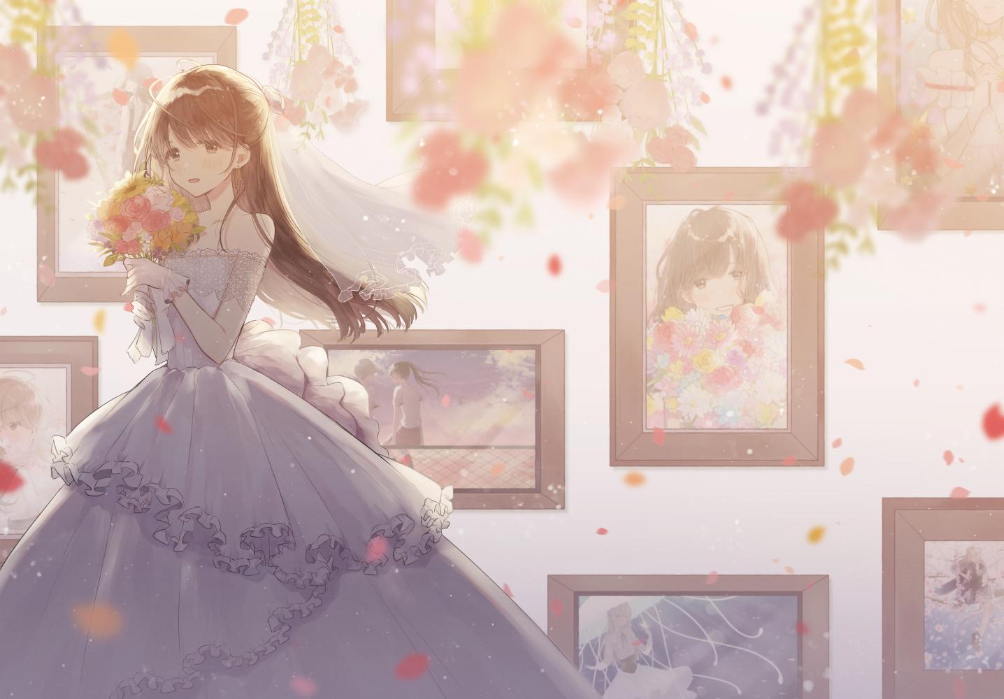 blush brown_eyes brown_hair dress flowers gloves long_hair necojishi original petals wedding_attire