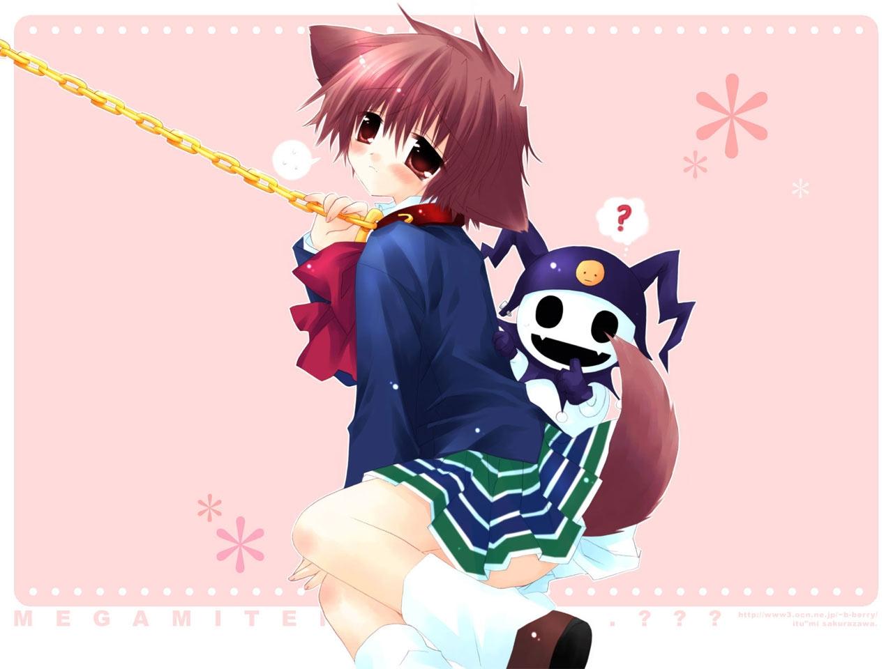 altus chain collar doggirl hinata_(pure_pure) jack_frost persona pure_pure sakurazawa_izumi shin_megami_tensei skirt