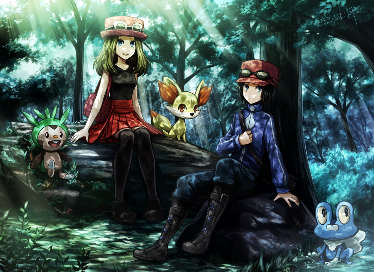 angel31424 boots calme_(pokemon) chespin fennekin forest froakie hat male pokemon serena_(pokemon) signed sunglasses tree