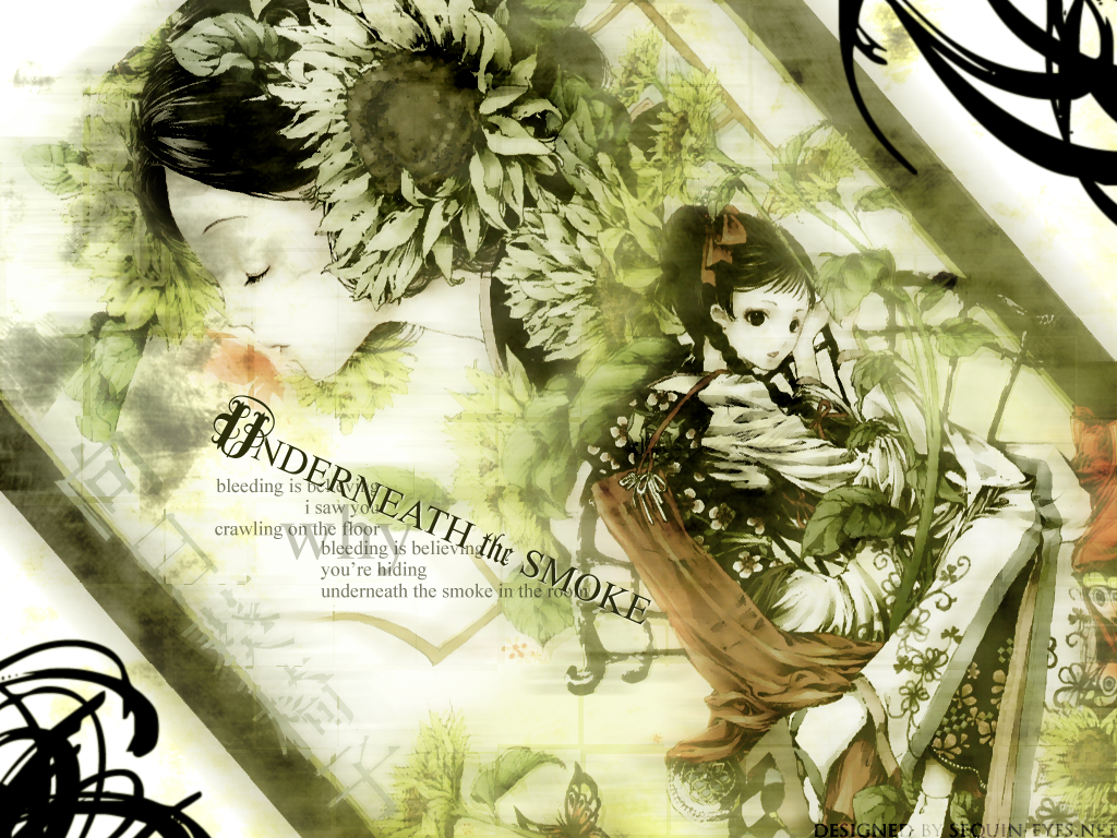 black_eyes black_hair braids chinese_clothes flowers green sunflower