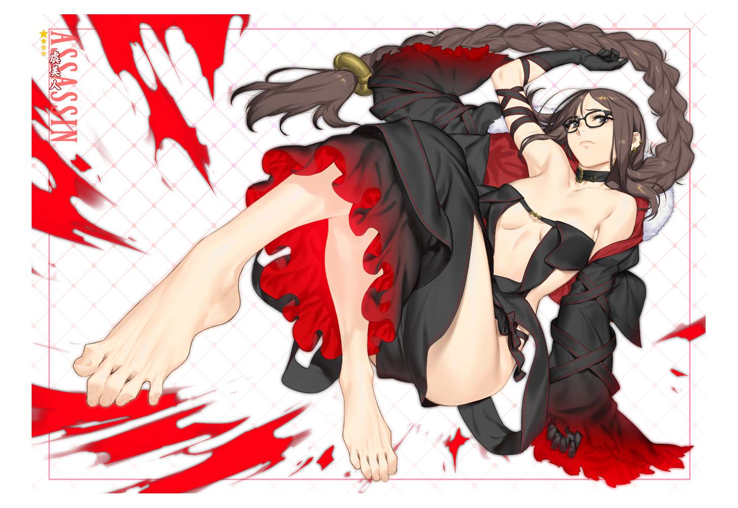 azusa_(hws) barefoot consort_yu_(fate) fate/grand_order fate_(series) glasses