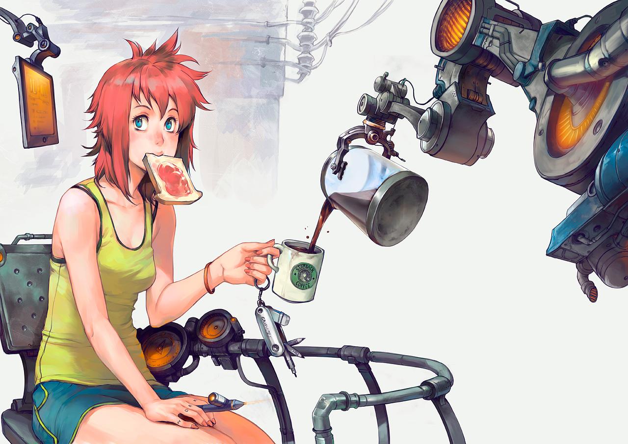 blue_eyes drink food original patipat_asavasena red_hair robot