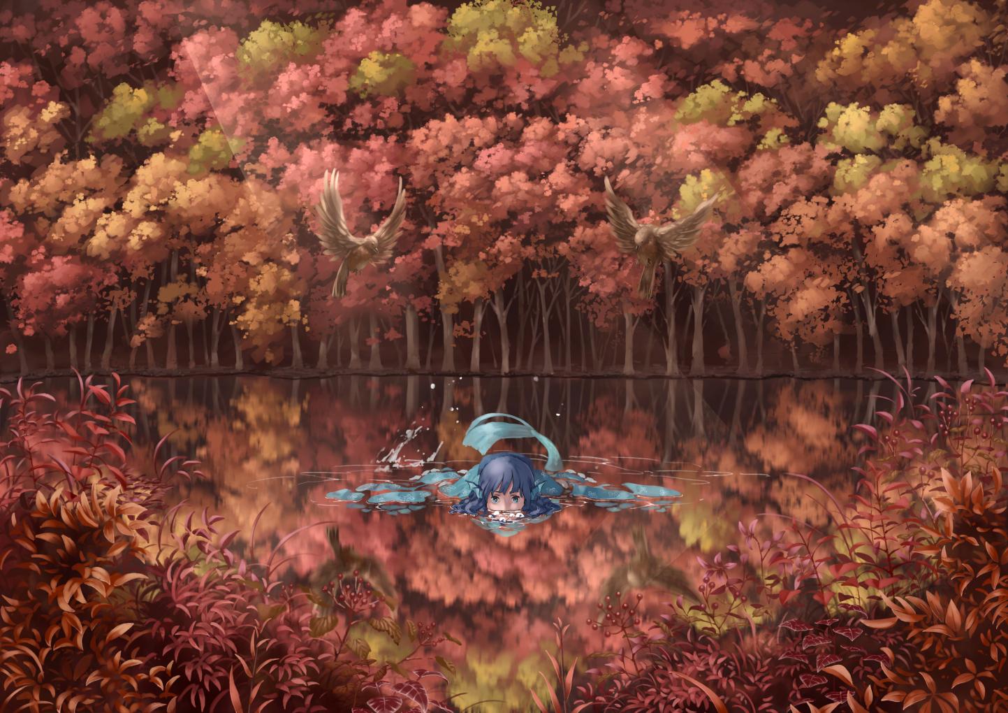 animal autumn bird blue_hair forest green_eyes mermaid nagi_(xx001122) reflection touhou tree wakasagihime water