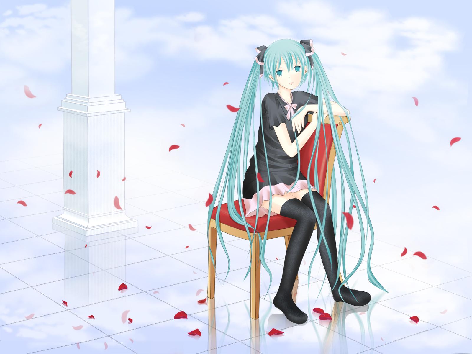 aqua_eyes aqua_hair flowers hatsune_miku long_hair petals twintails vocaloid