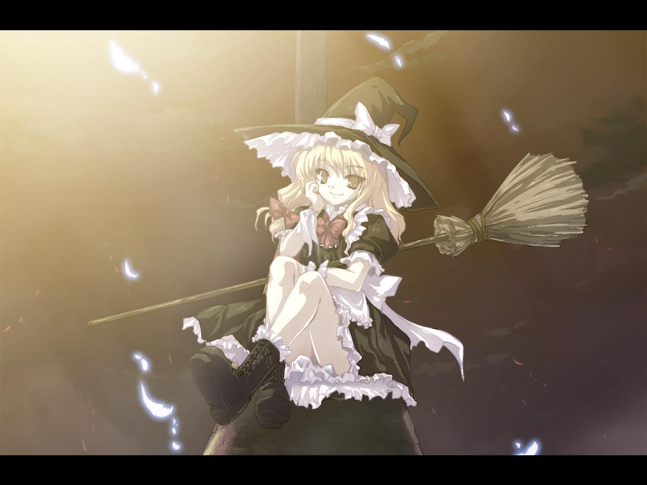 blonde_hair boots dress hat kirisame_marisa long_hair ribbons tokiame touhou witch yellow_eyes