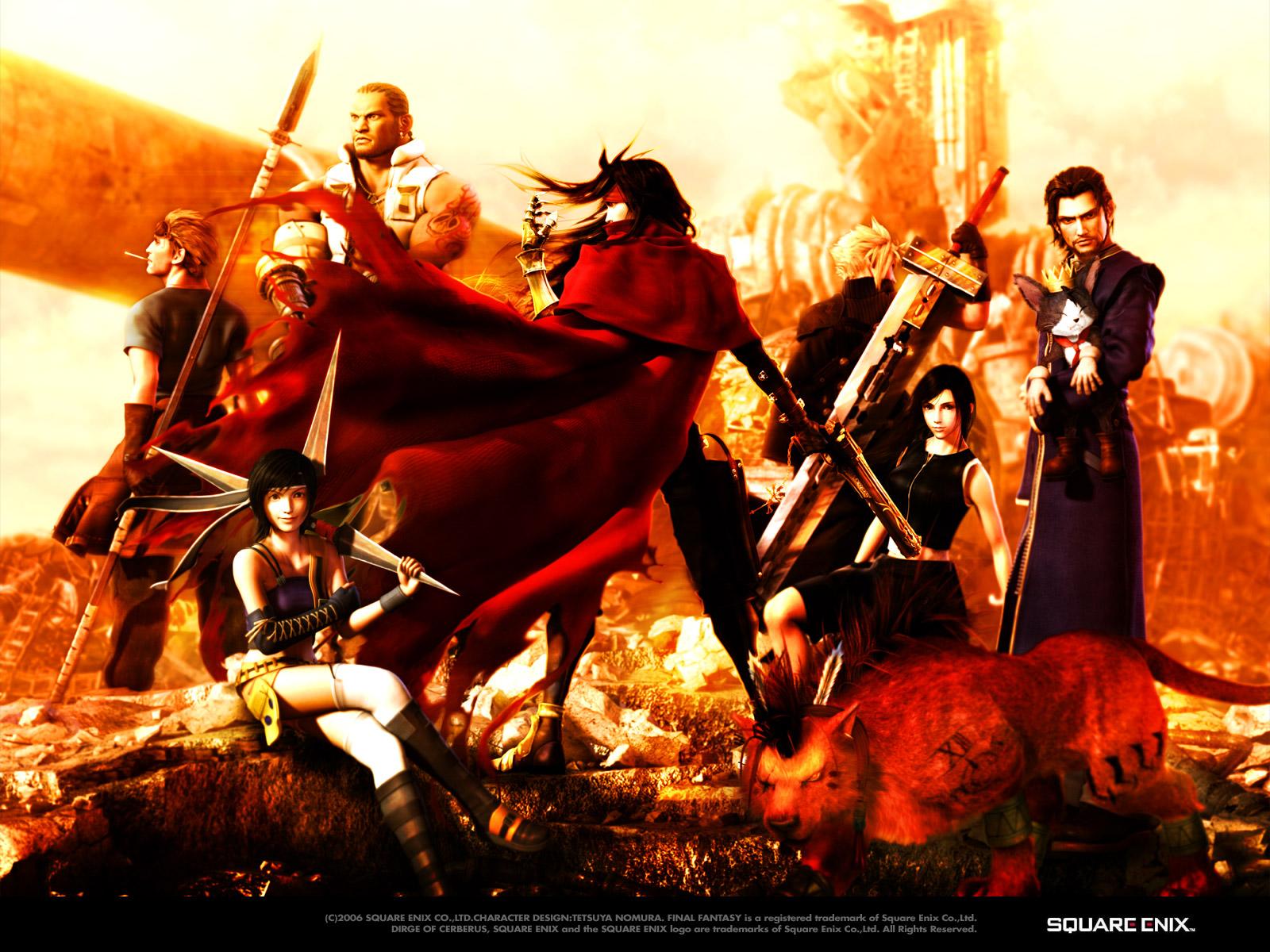 barret_wallace cait_sith cid_highwind cloud_strife final_fantasy final_fantasy_vii gun red red_xiii sword tifa_lockhart vincent_valentine weapon yuffie_kisaragi