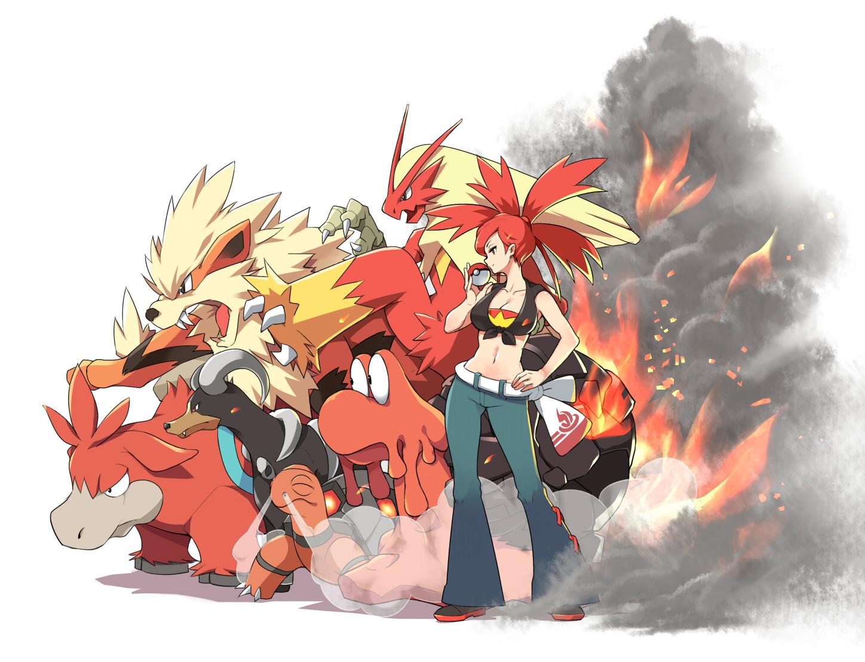 arcanine asuna_(pokemon) blaziken breasts camerupt cleavage fire houndoom magcargo navel pokemon red_eyes red_hair tm_(artist) torkoal