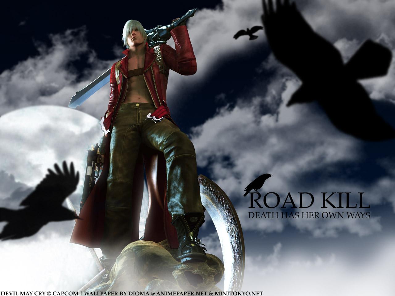 all_male animal bird blonde_hair bones boots clouds dante devil_may_cry gun male moon open_shirt sky sword weapon