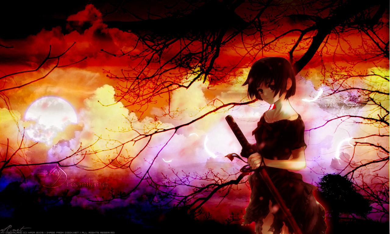brown_eyes brown_hair clouds dress feathers katana short_hair sword tree weapon