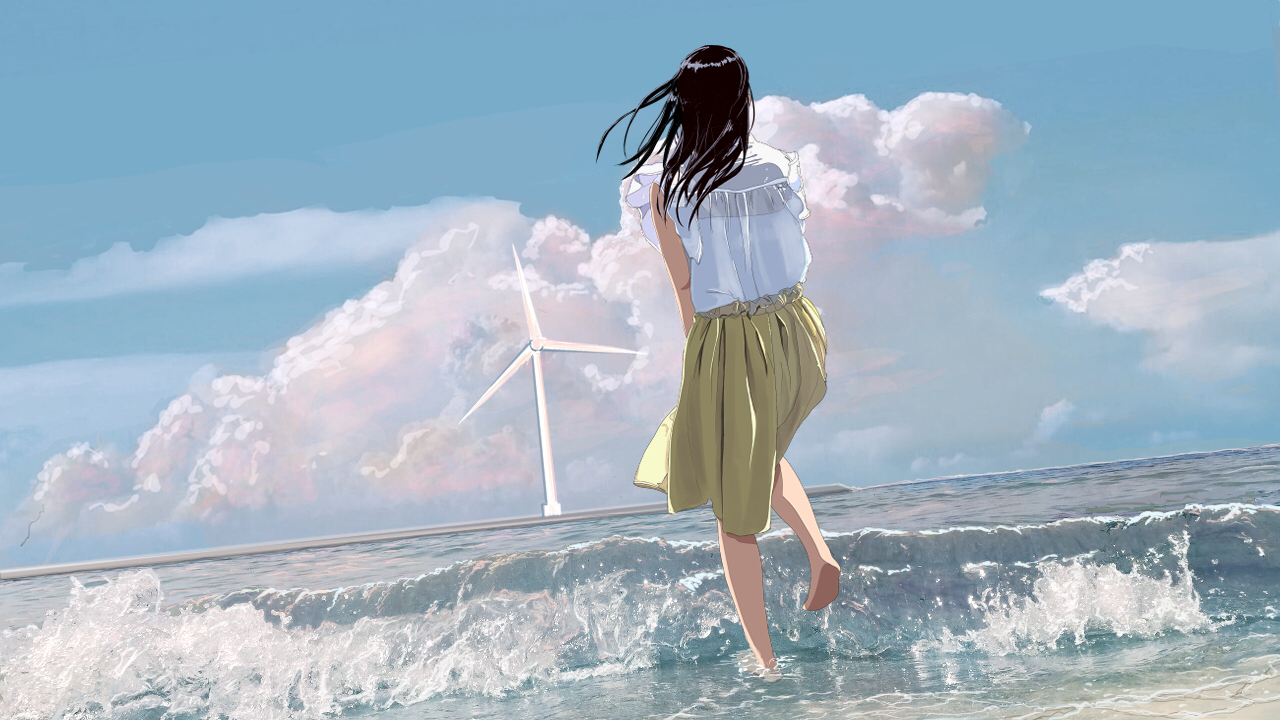 aliasing barefoot beach clouds long_hair original scenic skirt sky tagme_(artist) water windmill