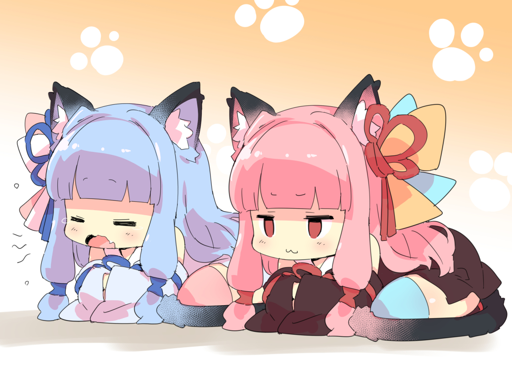 2girls animal_ears blue_hair catgirl cat_smile gradient japanese_clothes kotonoha_akane kotonoha_aoi petenshi_(dr._vermilion) pink_hair red_eyes tail thighhighs twins voiceroid