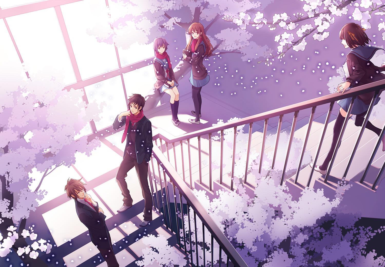 00111 asahina_mikuru group koizumi_itsuki kyon male nagato_yuki scarf school_uniform suzumiya_haruhi suzumiya_haruhi_no_yuutsu tree