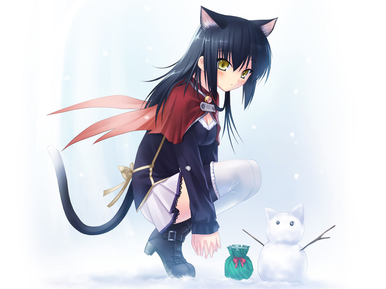 animal_ears bell black_hair blush boots bow breasts catgirl cleavage snow snowman tail thighhighs yellow_eyes